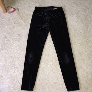 Kids black velvet leggings